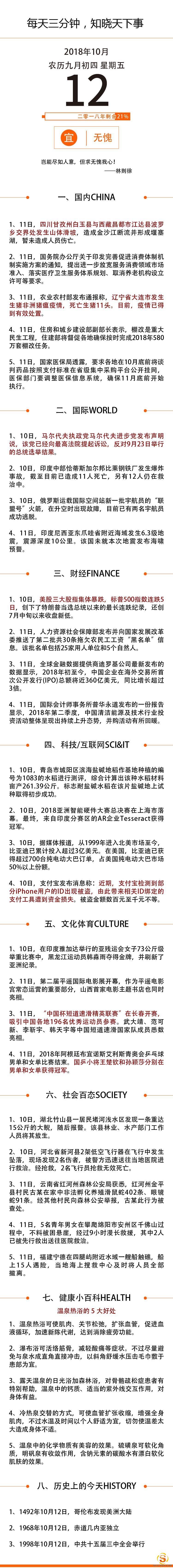 10月12日国内外新闻资讯快报