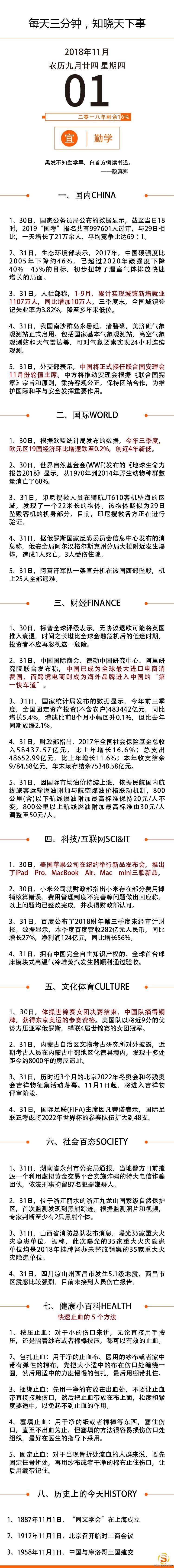 【网络营销顾问】2018年11月1日星期三国内外新闻资讯快报